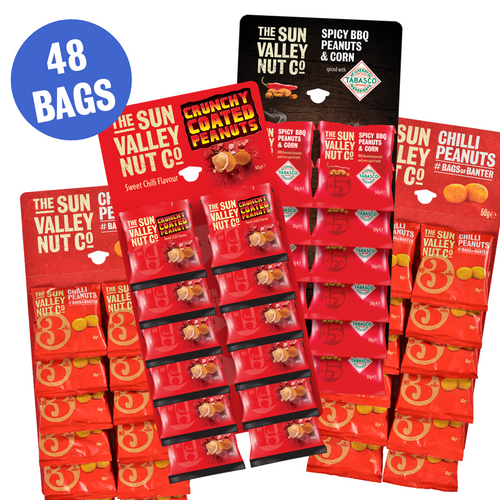 Spicy Pub Nut Bundle, containing over 40 bags of nuts. Comes with 2 Chilli Peanuts, 1 Crunchy Coated Peanuts card and 1 card of Spicy BBQ Peanuts & Corn w/TABASCO® brand Seasoning