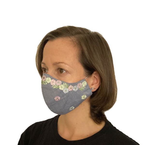 Embellished Chambray Mask