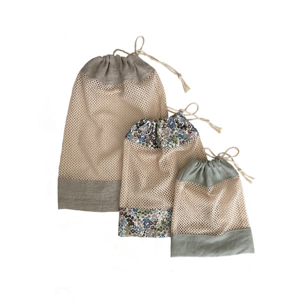 Mesh Cotton & Linen Drawstring Bags