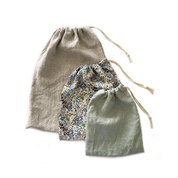 Linen and Cotton Drawstring Bags