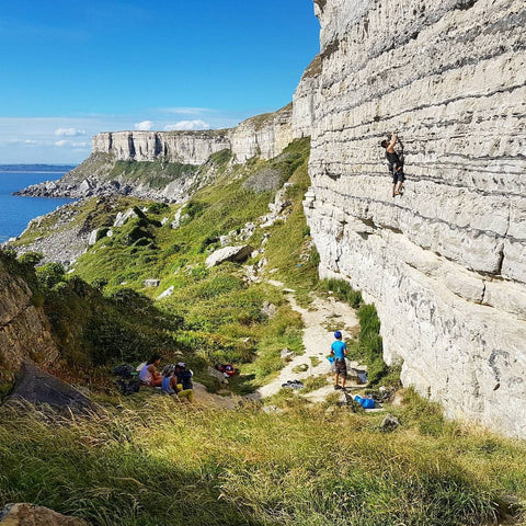 Redpoint Climbing Shoes co-founder Jack Tho outdoor sports climbing in Portland, England