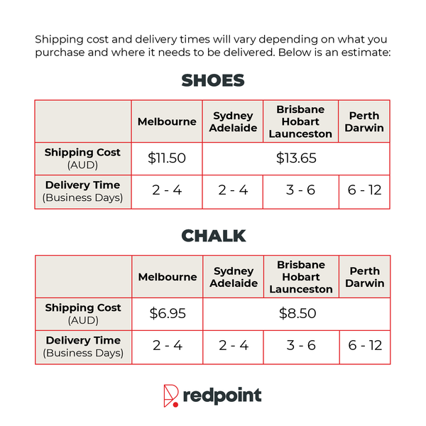Redpoint Climbing Australia Shipping Rates & Delivery Timeframe Table