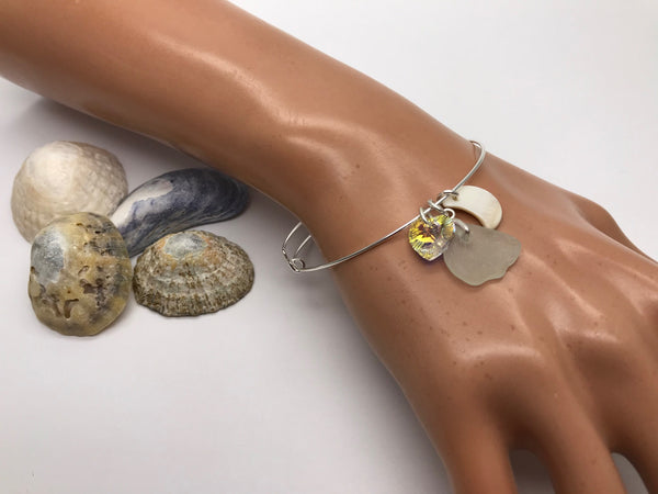 Sea Glass, Pearl & Crystal Bangle