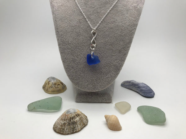 Sterling Silver Infinity Charm & Blue Sea Glass Pendant
