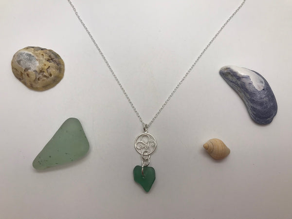 Pretty Swirl Charm & Sea Glass Pendant