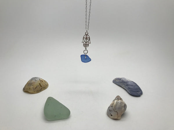 Blue Sea Glass Pendant & Hamsa Charm