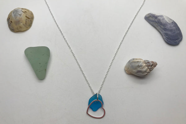 Blue Sea Glass & Sterling Silver Floating Heart Necklace