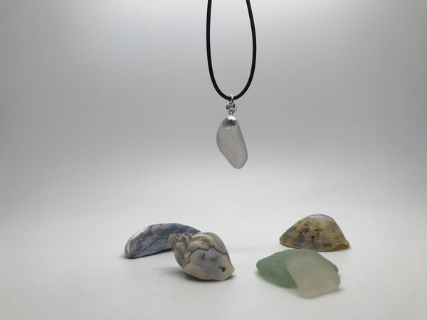 Textured Sea Glass pendant & Sterling Silver Shell Charm
