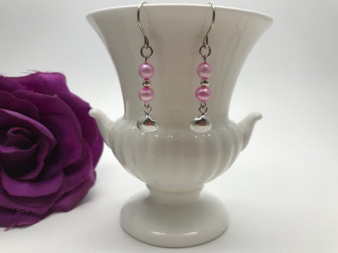Freshwater Pearl & Sterling Silver Shell Earrings
