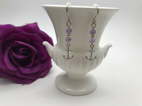 Amethyst & Sterling Silver Anchor Earrings