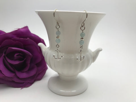 Amazonite & Sterling Silver Anchor Earrings