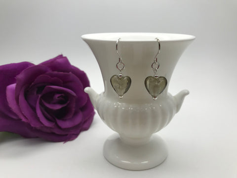Smokey Grey Glass Heart Earrings