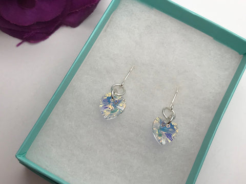 Sparkly Swarovski Crystal Elements Heart Earrings