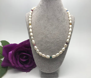 Freshwater Pearl & Swarovski Crystal Elements Necklace