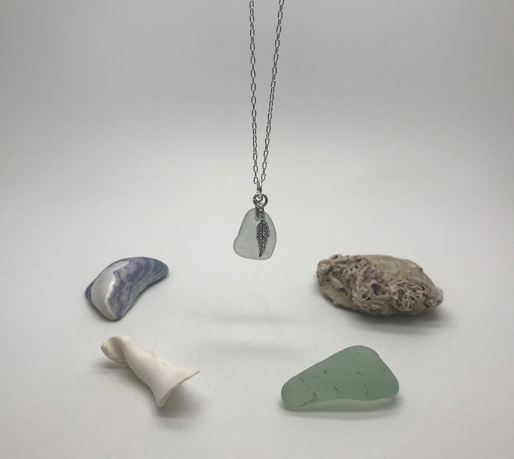 Feather & Sea Glass Necklace