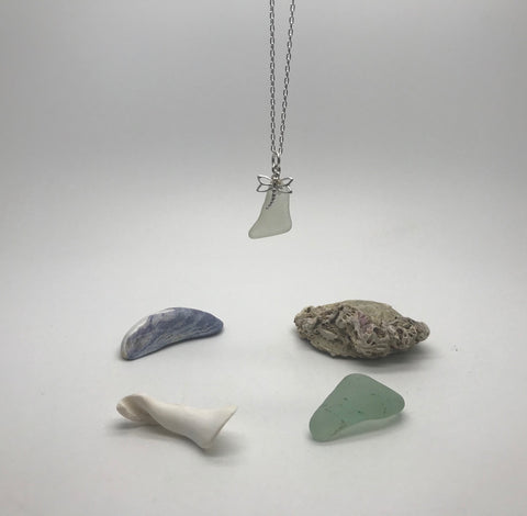 Dragonfly & Sea Glass Necklace