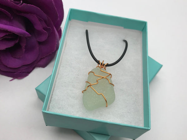 Orange Wire Wrapped Sea Glass Necklace