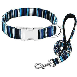 Blue Striped | Leash & Collar