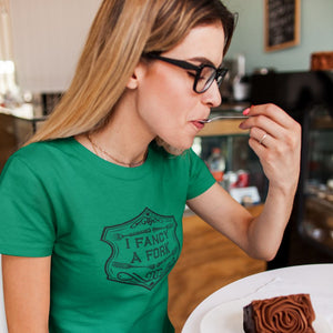 I Fancy A Fork Fitted T-Shirt - Black Good Grub Love