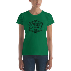 I Fancy A Fork Fitted T-Shirt - Black Good Grub Love Dark Green S