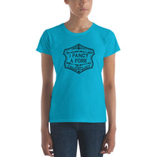 Load image into Gallery viewer, I Fancy A Fork Fitted T-Shirt - Black Good Grub Love Caribbean Blue S