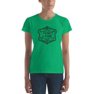 I Fancy A Fork Fitted T-Shirt - Black Good Grub Love Heather Green S