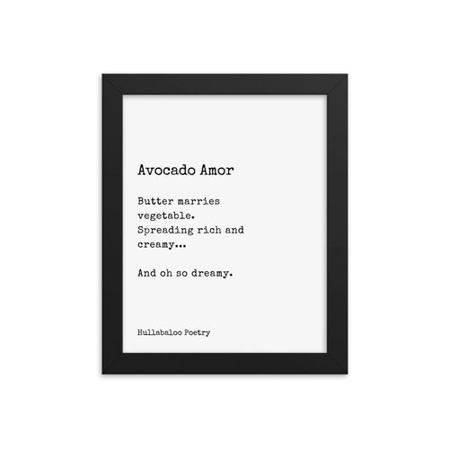 Framed Avocado Amor Poetry Poster