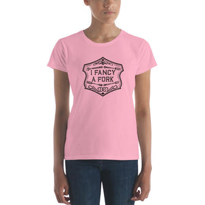 I Fancy A Fork Fitted T-Shirt - Black Good Grub Love Charity Pink S