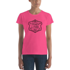 I Fancy A Fork Fitted T-Shirt - Black Good Grub Love Hot Pink S