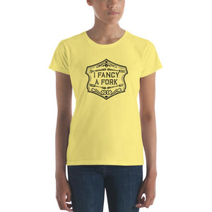 I Fancy A Fork Fitted T-Shirt - Black Good Grub Love Spring Yellow S