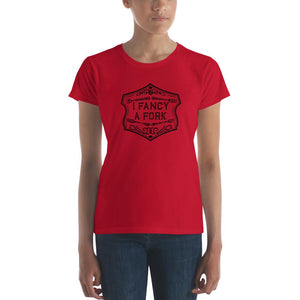 I Fancy A Fork Fitted T-Shirt - Black Good Grub Love Red S