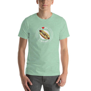 I Love My Wiener T-Shirt - White T-shirt Good Grub Love Heather Prism Mint S