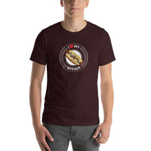 Load image into Gallery viewer, I Love My Wiener T-Shirt - White T-shirt Good Grub Love Oxblood Black S