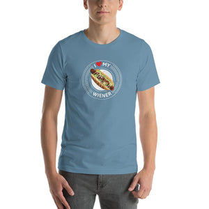 I Love My Wiener T-Shirt - White T-shirt Good Grub Love Steel Blue S
