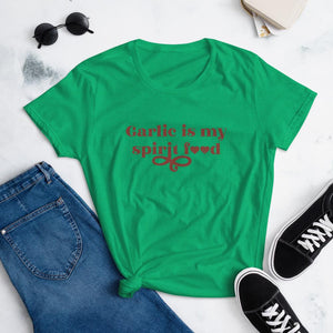 Garlic Is My Spirit Food T-shirt T-shirt Good Grub Love Heather Green S