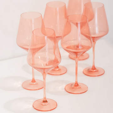 Estelle Colored Stemware // Coral Peach Pink - The Feedfeed Shop