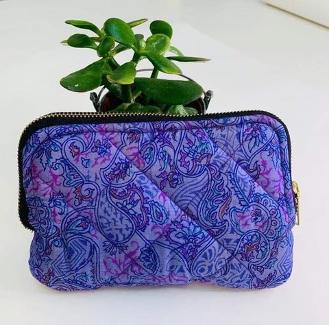 Premium Recycled Silk Cosmetic Bag (One-Off Print)