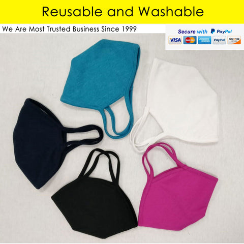 Adult Unisex Solid Reusable Cup Mask 1Pc
