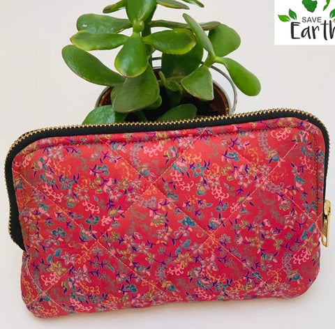 Recycled Silk Cosmetic Bag (One-Off Print)