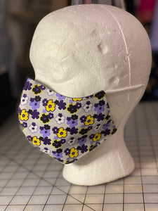 Purple Yellow White Floral on Lavender  Custom Made Cotton Cloth Mask