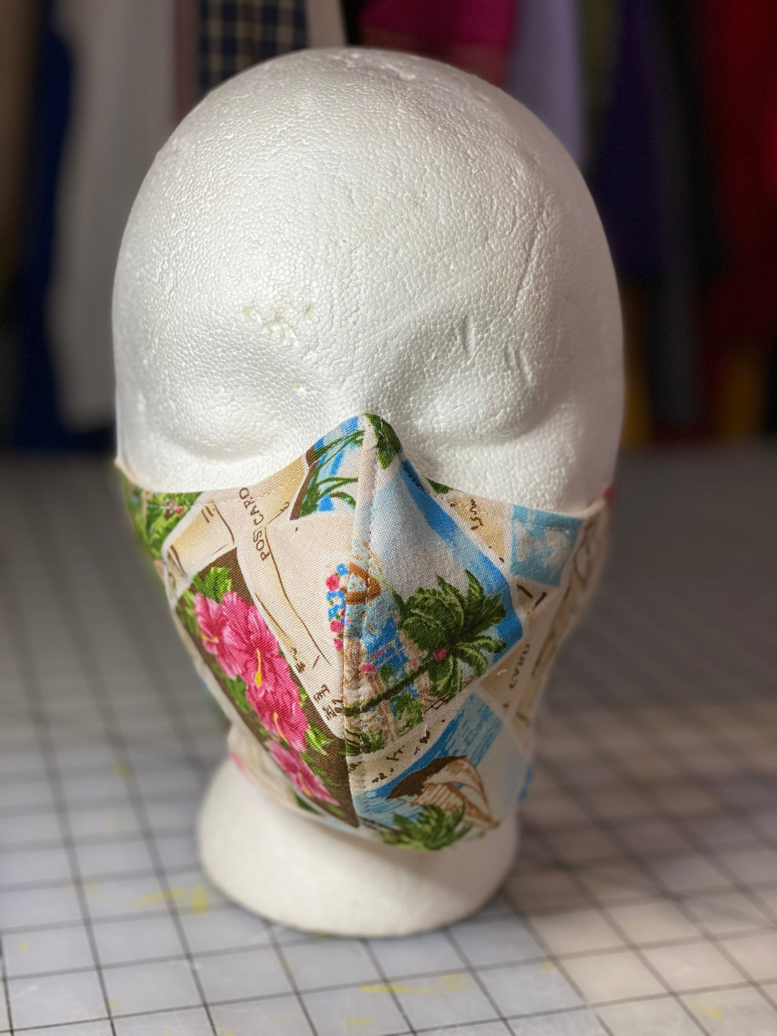 Hawaiian Vacation Postcard Custom Made Cotton Cloth Mask