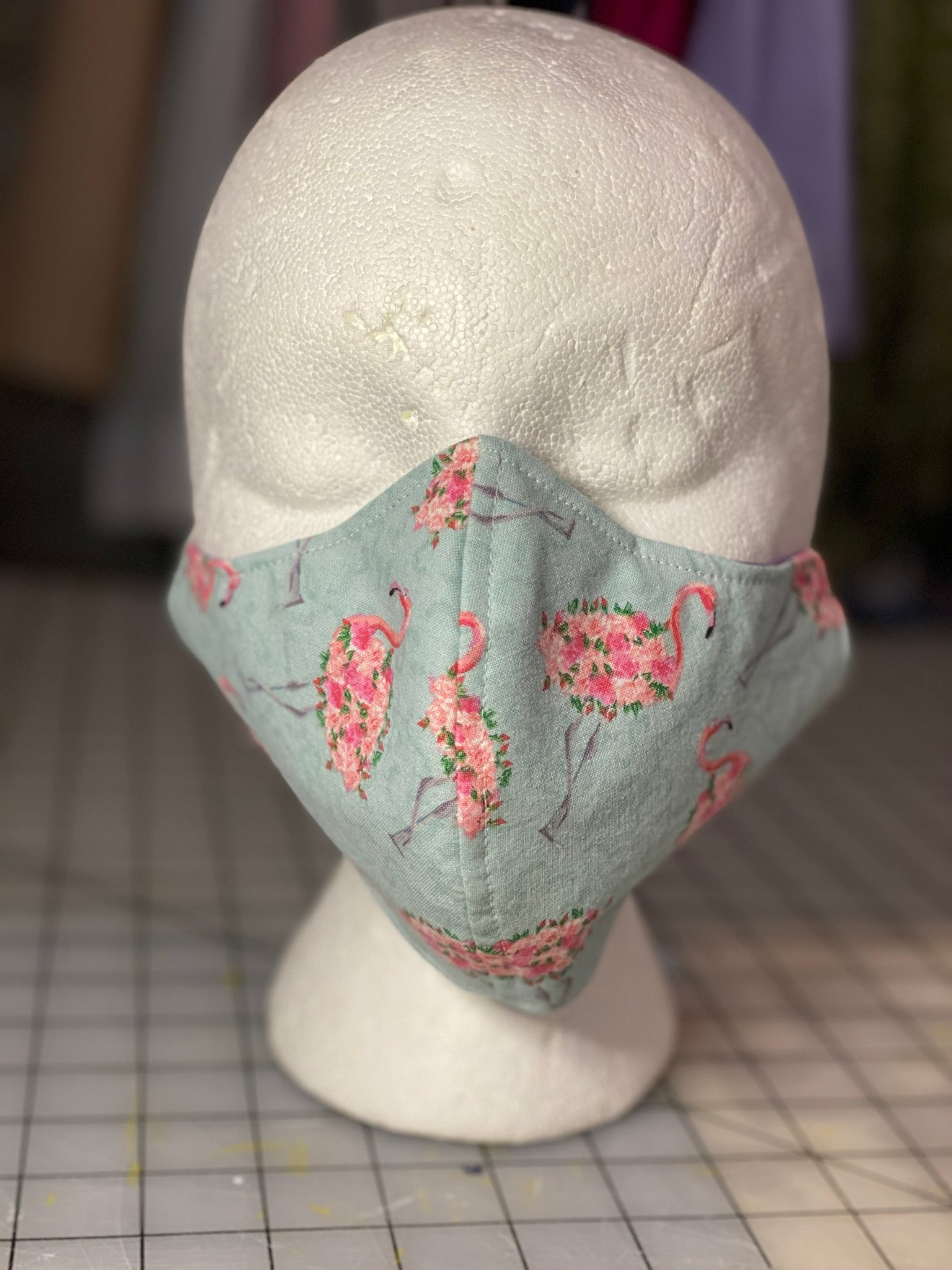 Flamingo Topiaries on Turquoise Cotton Custom Made Cloth Mask