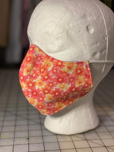 Coral And Pink Floral Custom Made Cotton Cloth Mask
