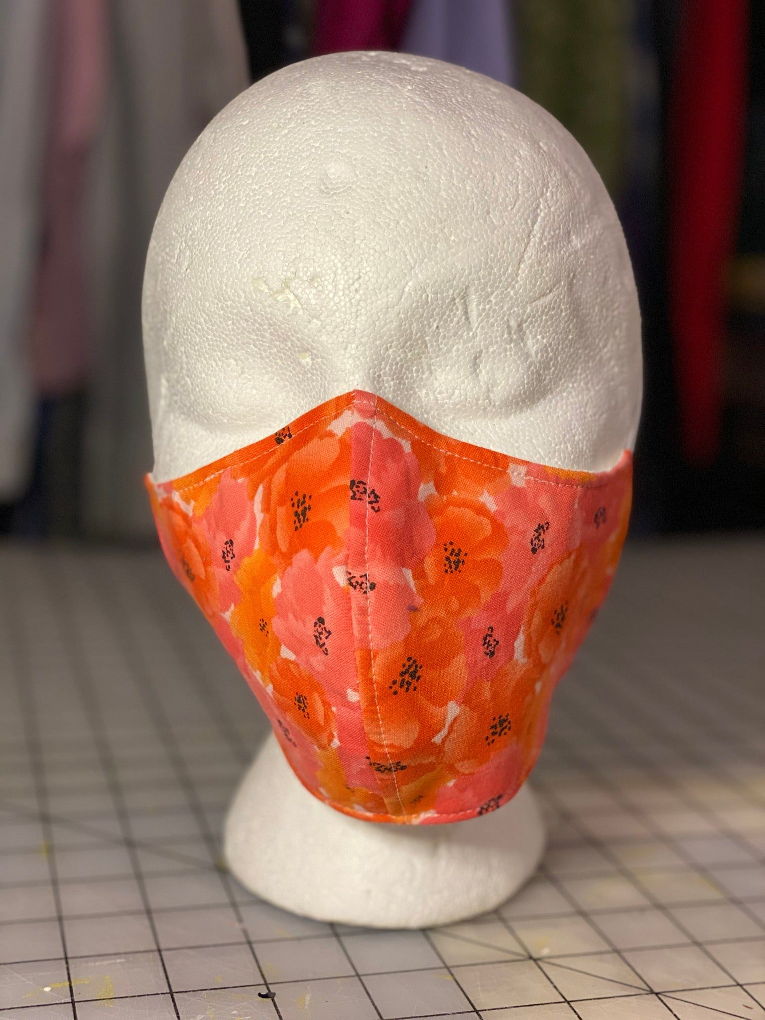 Coral Poppies Custom Made Cotton Cloth Mask