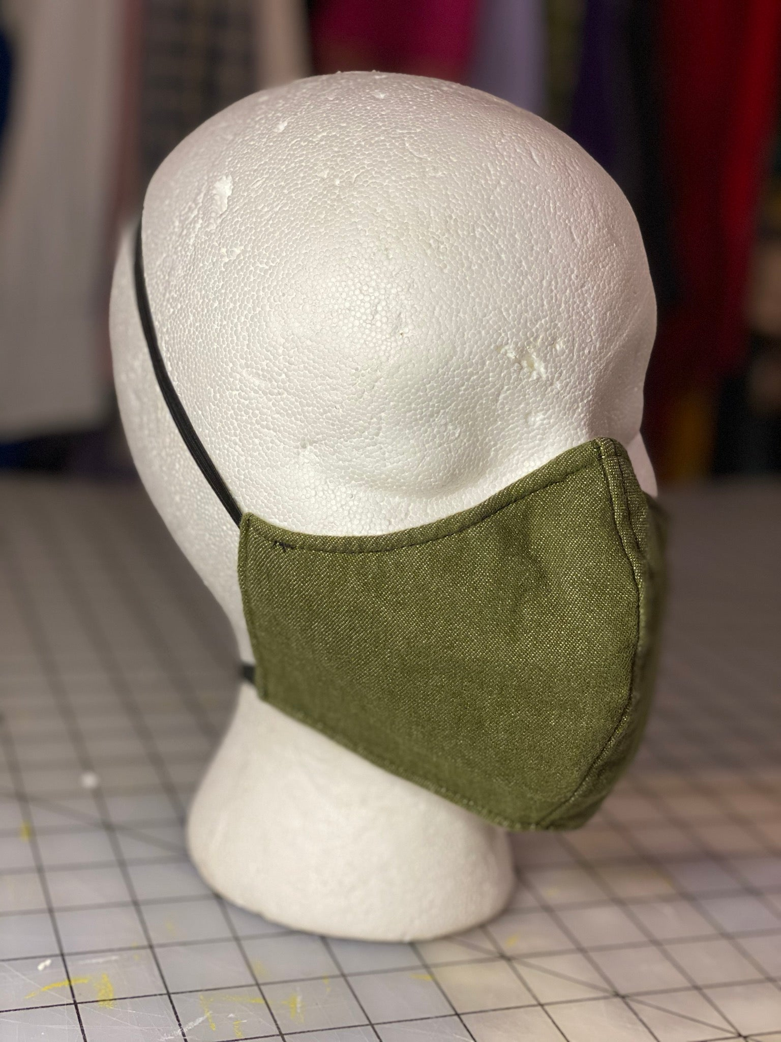 Olive Green Denim Cotton  Custom Made Cloth Mask