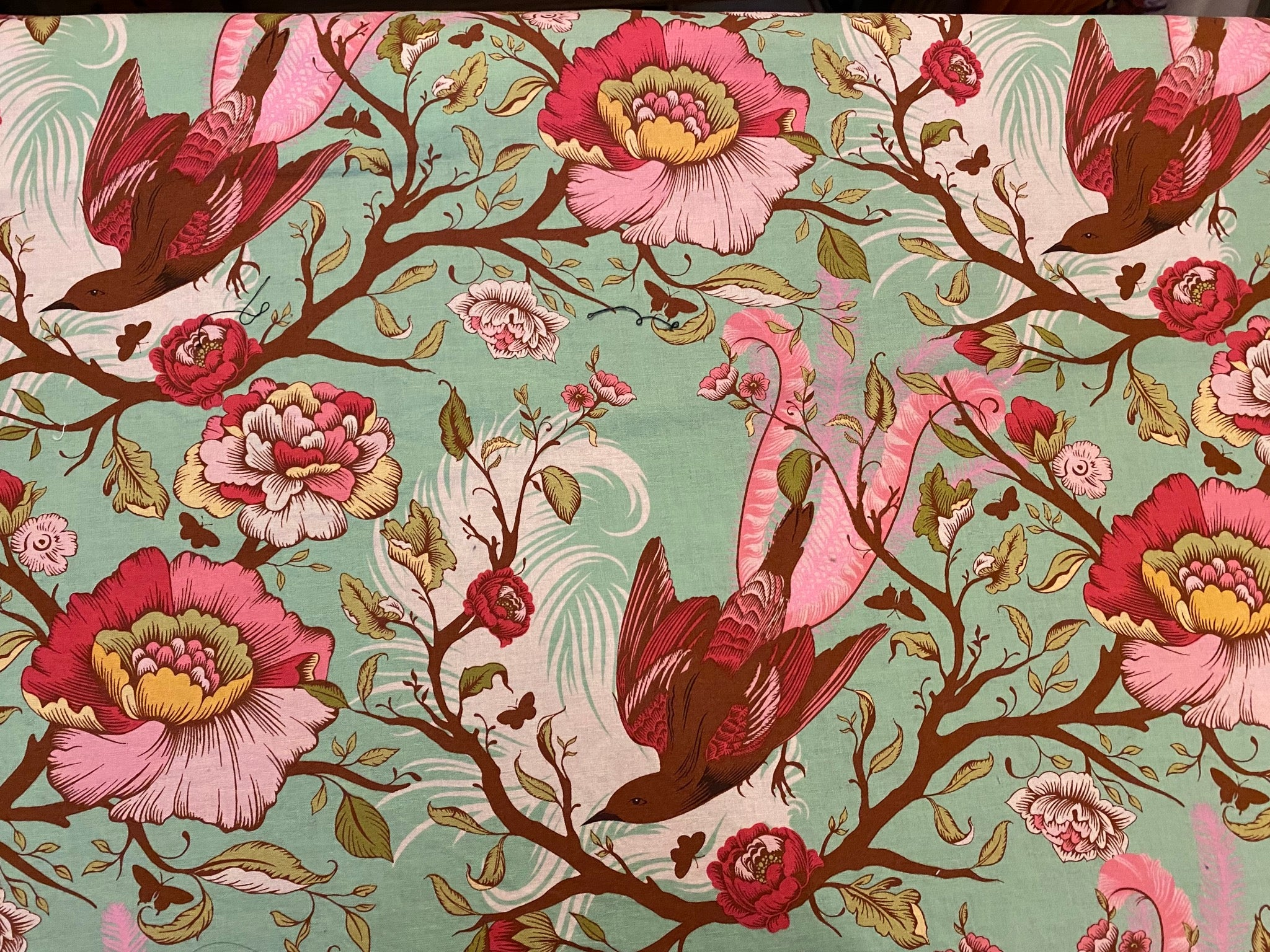 Sage Green with Pink Peony Floral and Pink Birds Custom Made Cotton Cloth Mask