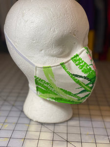 Lime Green Tropical Leaves on White Custom Made Cotton Cloth Mask