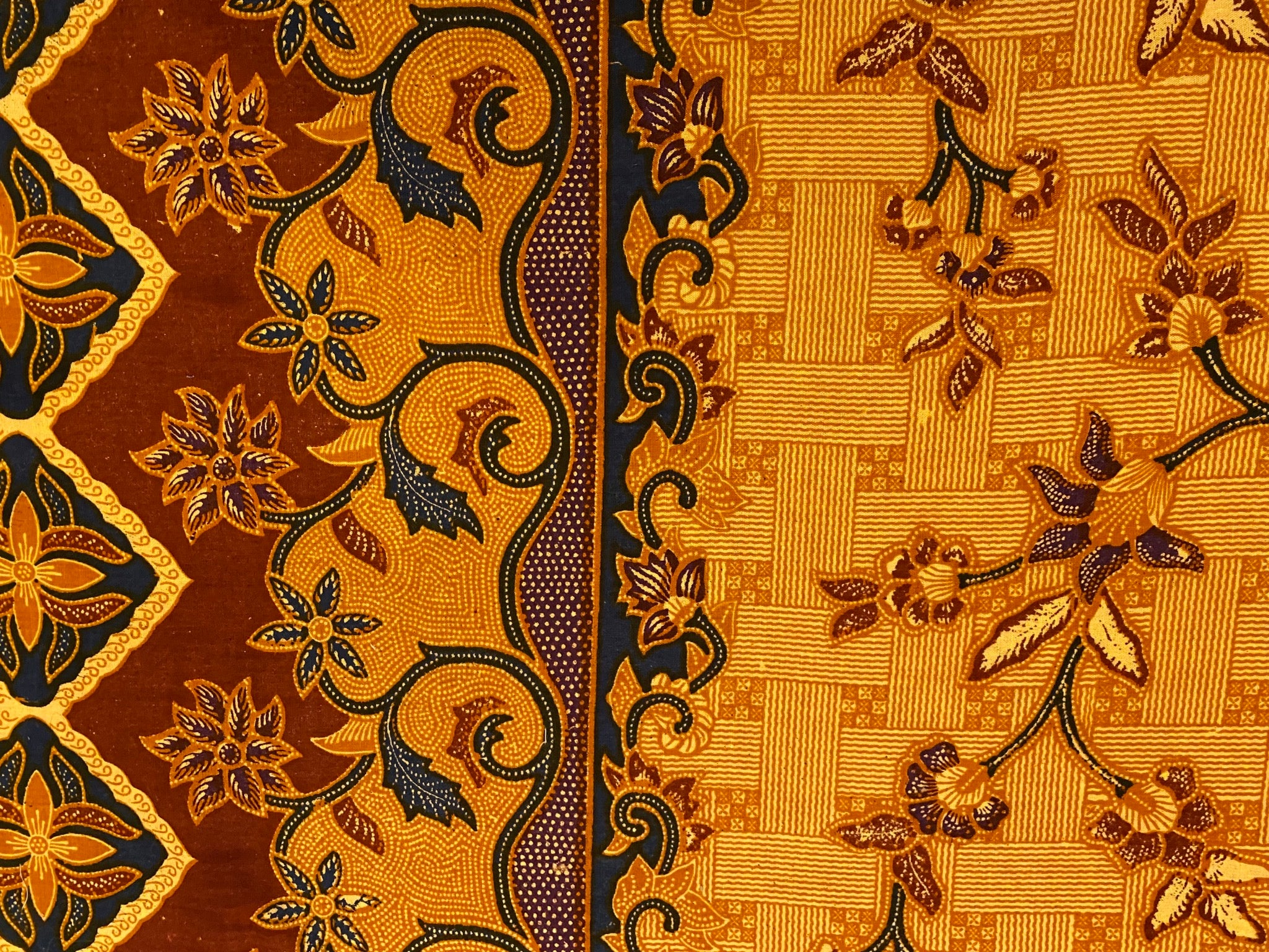 Batik in Golden Brown with Black Brown Tan Tribal and Floral from Philippines Custom Made Cotton Cloth Mask