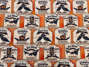 Vintage Victorian Spooky Halloween Potion Label Print in Orange Custom Made Cotton Cloth Mask