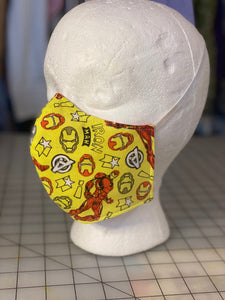 Marvel Superheroes Iron Man Doodle Print Custom Made Cotton Cloth Mask